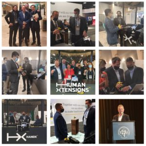 A collage of photos of Human Xtensions' sales and marketing teams. During the conference and a photo of the entire staff at the College Center